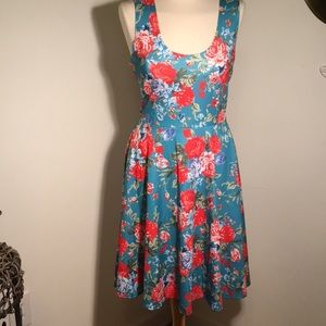 FSOOG NWT floral on turquoise swing dress